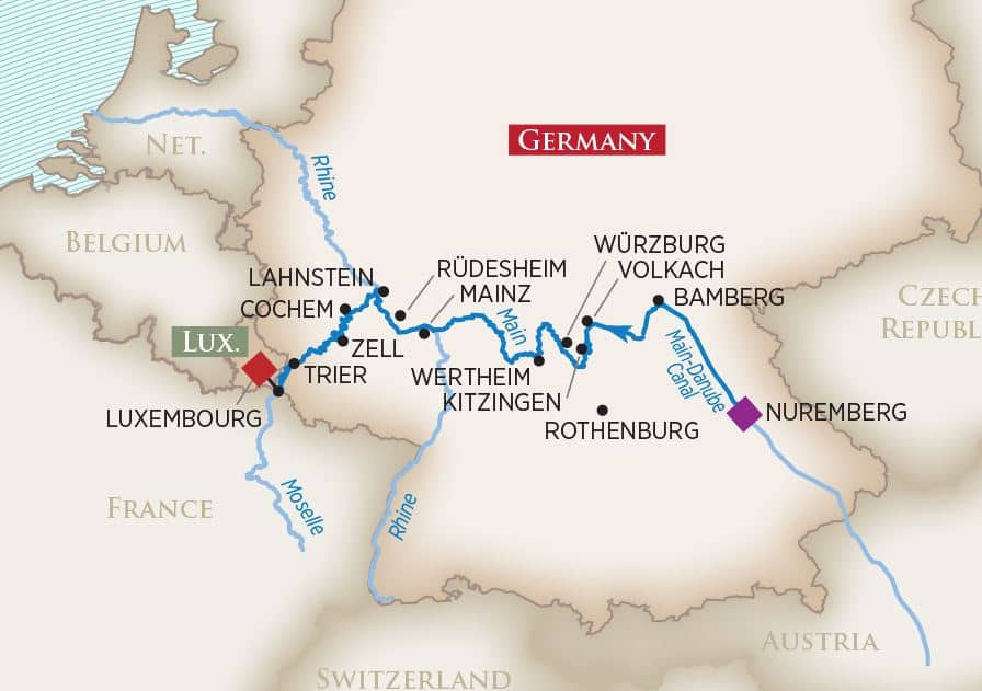 Europe's Rivers & Castles: Nuremberg Luxembourg 2020
