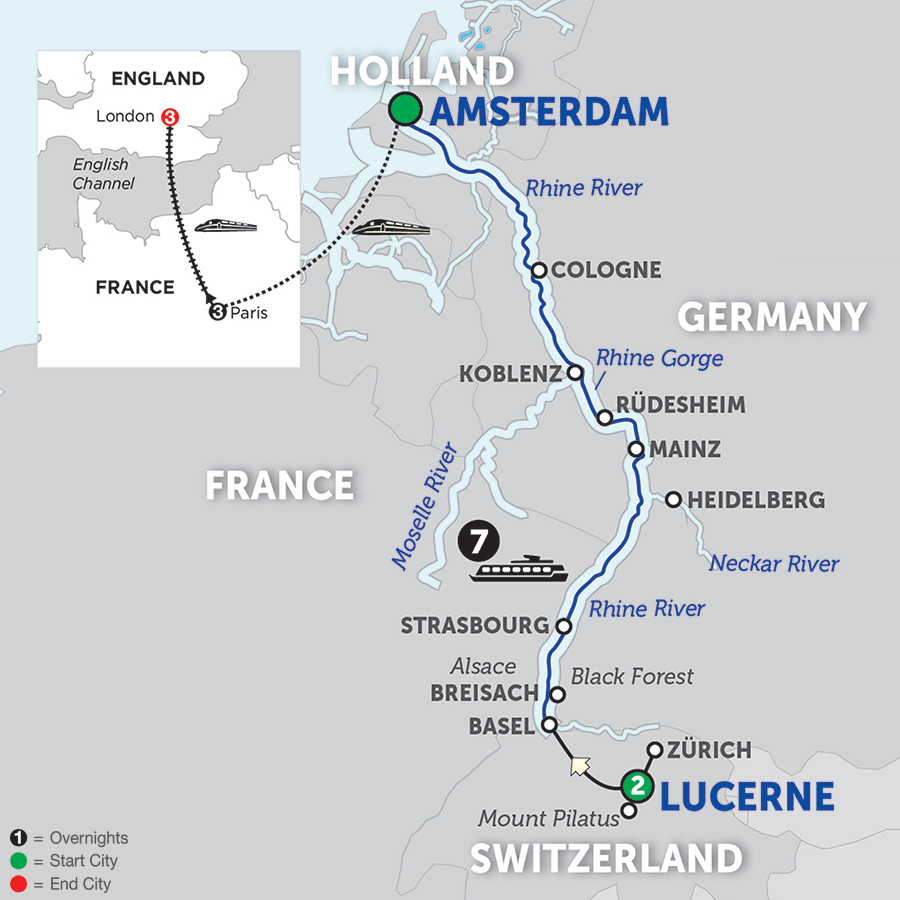 Romantic Rhine With Lucerne, Paris & London – Northbound 2018
