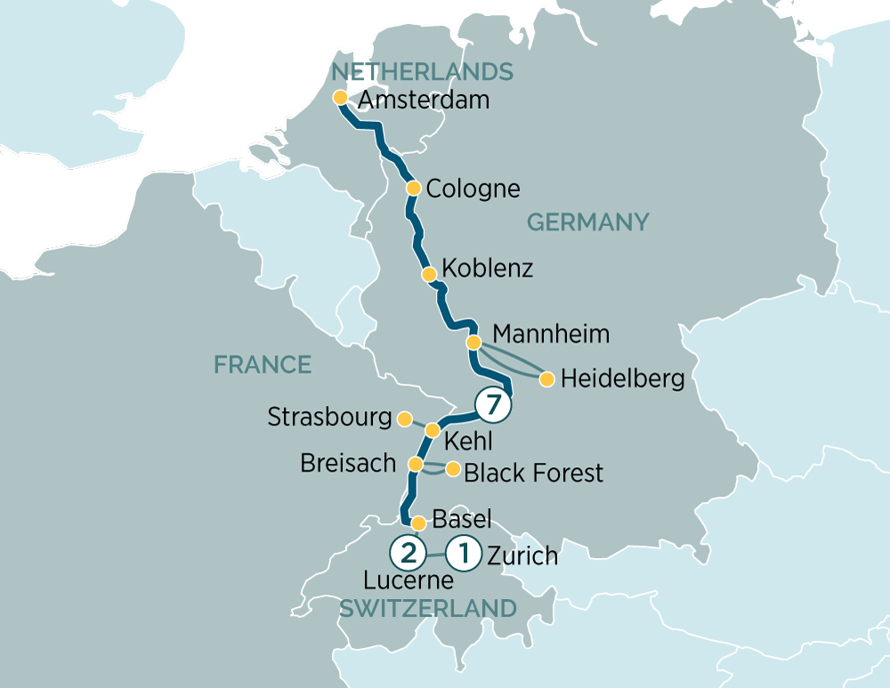Jewels of the Rhine & Lucerne - Zurich Amsterdam to Zurich 2019