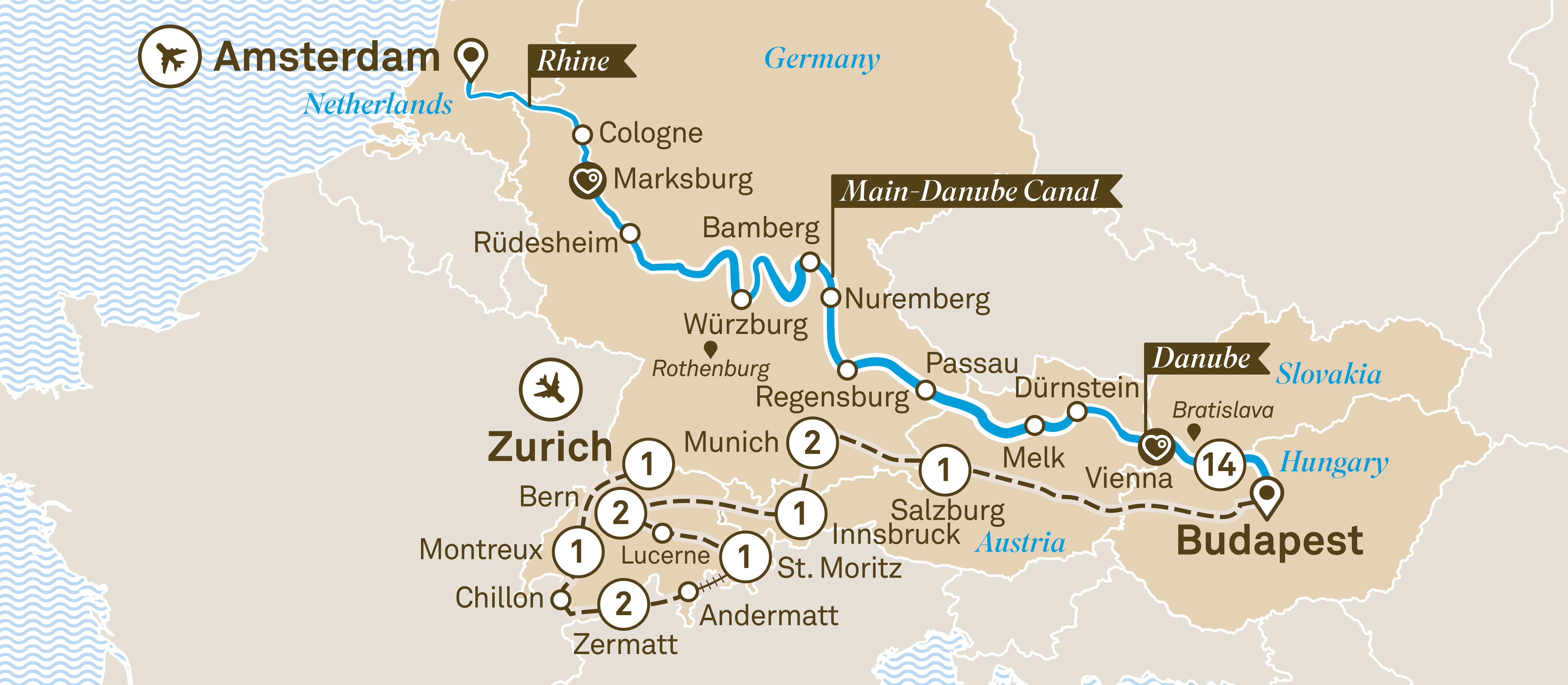 Jewels of Europe with Grand Alpine Zurich to Amsterdam 2019