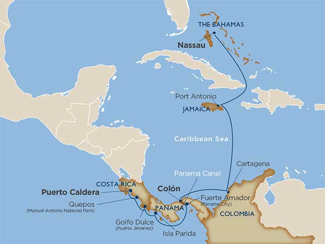 Star Collector:  Rainforests & Rum Refreshments—Costa Rica to the Bahamas via the Panama Canal Puerto Caldera Nassau 2021